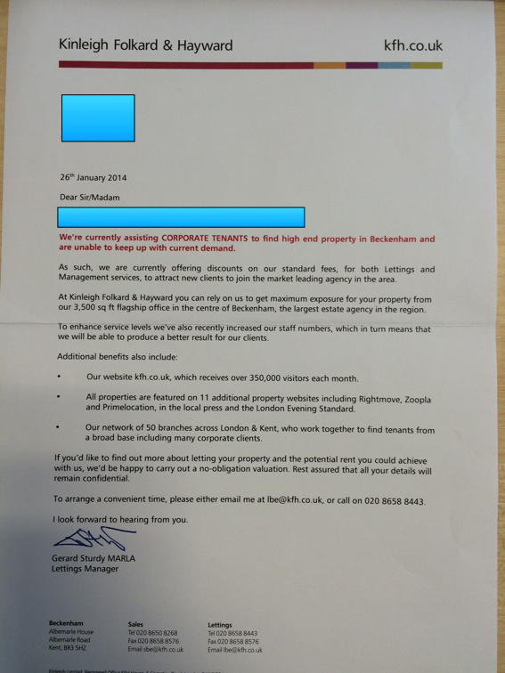 leading onthemarket agent says touting letter was mistake